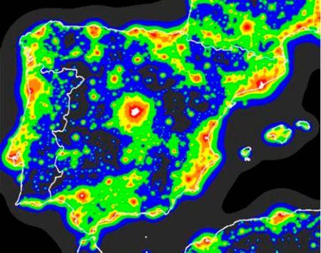 La contaminación lumínica en la Península