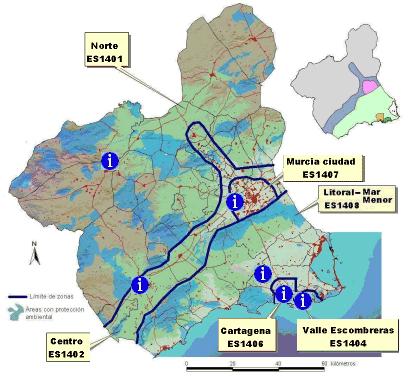 Zonaificación para Calidad del Aire en la Región de Murcia